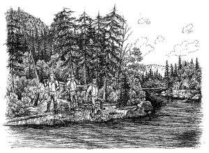 1849 Arrivée des Ménard et Dufresne. Dessin Sonia Paquin, 2000, Archives de la SHPVD