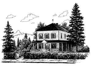 Le presbytère en 1930. Dessin de Sonia Paquin, 2000