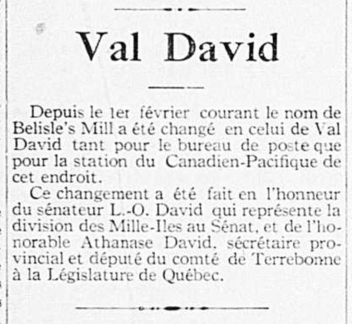 Belisle's Mill devient Val-David.